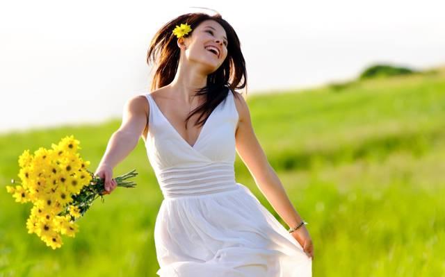 青花,微笑,花,草,喜悦,绿色,花束,女孩