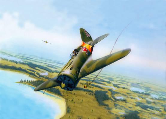 壁纸艺术,苏联,低,Polikarpov,高速,OKB,第一,-16,一,世界,战斗机单翼,会计,活塞,...