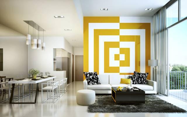 装饰,客厅,黄色,白色