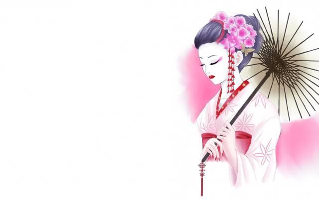鲜花,艺术,艺妓,伞,和服,白色背景,图,女孩