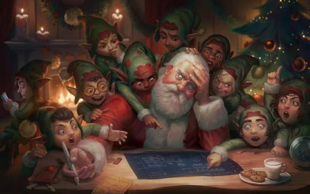 人字,亲爱的撒旦:圣诞快乐,新年快乐,吉赛尔阿尔梅达,艺术,计划,插图,精灵,...