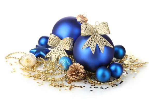 蓝色,新年,弓,装饰,圣诞节,玩具,雪花,白色背景,圣诞节,新年,球,圣诞节,...