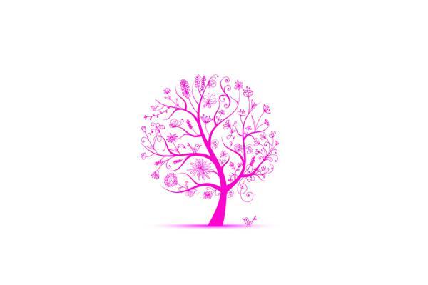 花,鸟,树,春天,叶子