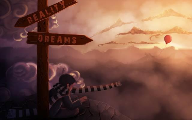 选择,艺术,指数,气球,围巾,梦想,现实,云,岩石,石头