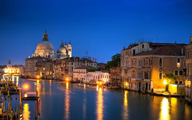 Wallpaper意大利大运河,灯光,家,建筑,晚上,威尼斯,大运河,建设